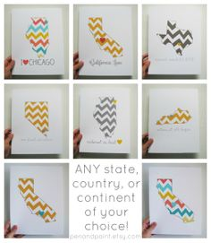 Custom, Personalized State Print, State Love, State Map, Country, Continent, Love Where You Live, Silhouette, 8 x 10 Art Print, Chevron. $20.00, via Etsy.