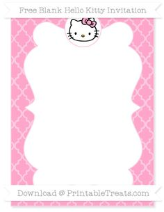 Free Carnation Pink Moroccan Tile  Blank Hello Kitty Invitation