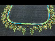 Simple blouse embroidery for beginners! Bead Embroidery Tutorial, Aari Embroidery, Embroidery Neck Designs, Hand Embroidery Videos, Bead Embroidery Patterns, Embroidery For Beginners, Kids Blouse Designs, Hand Work Blouse Design, Simple Blouse Designs