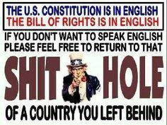 I'm for English as the Official  American Language! Put it into Law! -previous pinner