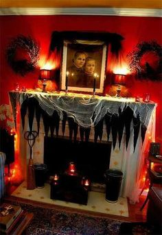 Love this spooky RED Halloween living room! | #fall #autumn #decorating #decor #halloween