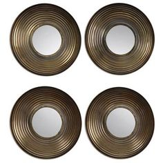 Check out the Uttermost 12858 Set of 4 Tondela Round Metal Mirror in Antiqued Golden Bronze