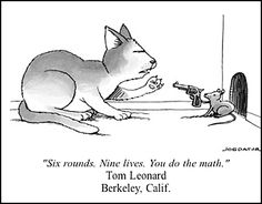 New Yorker cartoon with caption by Tom Leonard #cat #mouse