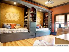 Kid spaces - Built-in beds for shared boys room.