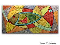 "Pesci astratti grande arte Painting.Modern pesce Painting.Mixed Media Painting.Original Painting.Textured 24 ""x 48"" Office Home Decor... da Nata S"