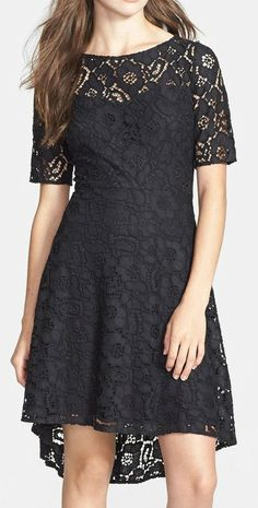 Betsey Johnson Lace High/Low Fit & Flare Dress