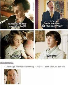 No, but Archie really is like a mini Sherlock.< He's the next Sherlock. In 15 years, they'll make a new show called 'Archie' where he is a detective. Sherlock Bbc, Sherlock Fandom, Benedict Cumberbatch Sherlock, Funny Sherlock, Watson Sherlock, Jim Moriarty, Sherlock Quotes, Johnlock, Detective