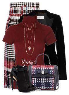 """~  Fall Skirt  ~"" by pretty-fashion-designs ❤ liked on Polyvore featuring Oscar de la Renta, Yves Saint Laurent, Salvatore Ferragamo, Lucky Brand and Apt. 9"