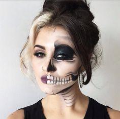 Half-face skull makeup