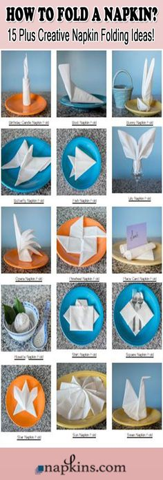Folded napkins are one of the easiest ways to add a punch of panache to a tabletop. The 17 fancy napkin folds below are ideal for dressing up wedding place settings, party tablescapes, or the tables at any fine restaurant or event. Each fancy napkin fold features photo and written step-by-step instructions so you can easily create each fold for yourself. Simply click the photo to jump right to the instructions!