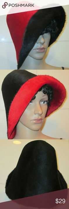 Rabbit Felt Fur Dome Hat REVERSIBLE !  Awesome ! Rabbit Felt Bucket Domed Hat. Reversible Bucket Felt Hat. Felt Fur Hat. Vivid Colors of Red and Black. Wonderful Condition on Both Sides. Velvety Soft to the Touch. Fit Size Med - Large Cool Military Inspired Piece ! A Beautiful Forever Hat ! vintage Accessories Hats