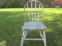 Vintage Chair, Wood chair, Furniture, Dinning Chair, Rustic Chair, white chippy paint, Shabby Chic Decor by KarensChicNShabby on Etsy