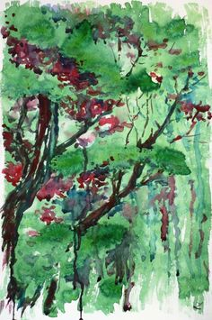 ARTFINDER: Trees by Zaira Dzhaubaeva - Original watercolor painting on paper.  Trees in impressionistic style.  This is one of my early works.  Please note that the colors of the original pa...