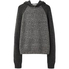T by Alexander Wang Tweed Print Hoodie ($145) ❤ liked on Polyvore featuring tops, sweaters, hoodies, jumpers, pattern tops, relaxed fit tops, raglan top, t by alexander wang and hooded top