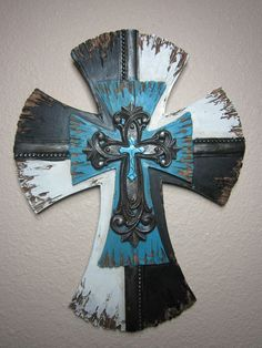 12x8 Blue Woodlike Hanging Wall Cross