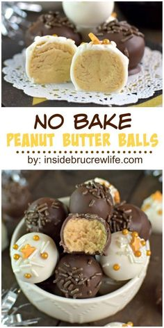 Easy no bake peanut butter balls dipped in two kinds of chocolate makes a delicious treat any time of year. Easy no bake peanut butter balls dipped in two kinds of chocolate makes a delicious treat any time of year. Candy Recipes, Sweet Recipes, Cookie Recipes, Dessert Recipes, Fudge Recipes, Desserts Diy, Baking Desserts, Holiday Desserts, Recipes Dinner