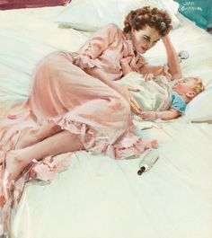 Vintage mother and baby illustration. Vintage Pictures, Vintage Images, Vintage Art, Mode Poster, Vintage Housewife, Posters Vintage, Mothers Love, Happy Mothers, Mother And Child