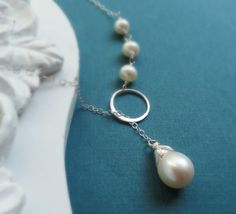 Pearl necklace eternity necklace lariat necklace