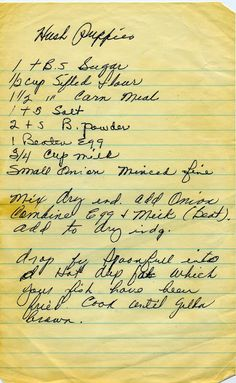 Appalachian Ancestry Journal: Family Recipe Friday-Hush Puppies-- This recipe makes perfect Hush Puppies! Retro Recipes, Old Recipes, Vintage Recipes, Fish Recipes, Seafood Recipes, Bread Recipes, Cooking Recipes, Recipies, Dinner Recipes