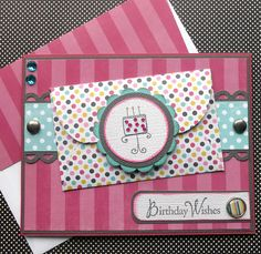 Birthday Gift Card Holder with Matching Embellished Envelope - Bday Stripes and Dots via Etsy