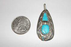 Native American Zuni Effie C Sterling Sleeping Beauty Turquoise Snake Pendant #Zuni #Beadwork
