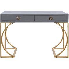 Worlds Away Vanessa Grey & Brass Desk (27 910 ZAR) ❤ liked on Polyvore featuring home, furniture, desks, desk, grey furniture, metallic furniture, gray furniture, worlds away desk and lacquer desk