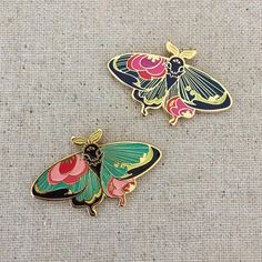 Moth and butterfly enamel pins