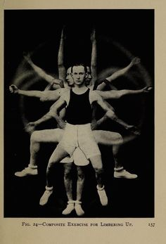 Fig. 24. Composite exercise for limbering up. Physical training for business men. 1917