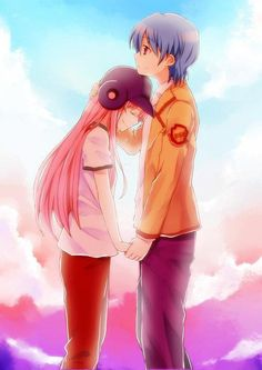 Yui and Hinata - Angel Beats! The moment on the baseball field  where they  envisioned a life they never had I cried