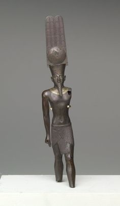 Standing Figure of the God Amun-Re - Medium: Bronze, gold Geographical Locations: Place made: Egypt Reportedly from: Memphis, Egypt Dates: ca. 760-656 B.C.E. Dynasty: XXII Dynasty Period: Third Intermediate Period | Brooklyn Museum