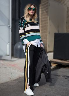 The Best NYFW Fall 2017 Street Style - Fall & Winter Fashion Outfit Ideas | New York Fashion Week F/W 17 | Stripes, athleisure, track pants