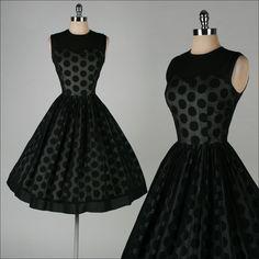 vintage 1950s dress . black chiffon . by millstreetvintage on Etsy, $185.00