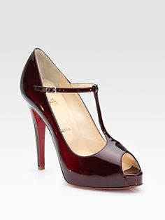 T-straps are super lady-like, and that color is to die for! $895 #christianlouboutin #saks