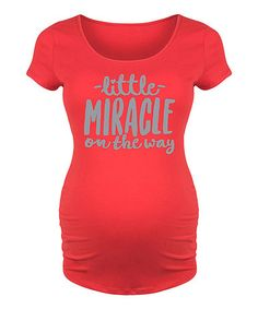 Loving this Red 'Little Miracle' Maternity Scoop Neck Tee on #zulily! #zulilyfinds