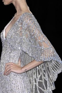Elie Saab, model, runway, haute couture, couture, fashion, high fashion, Paris Fashion Week, fashion week, chiffon, tulle, sequins, lace, crystals, beading, detail, embroidery, sheer, silver, sparkles, Elie Saab Couture, couturier, atelier, fashion designer, glitter, shimmer,