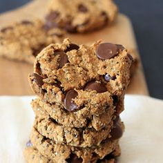 Oatmeal Peanut Butter Chia Chocolate Chip Breakfast Cookies
