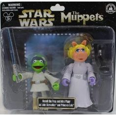 "Disney Star Wars Muppets ""Kermit the Frog & Miss Piggy"" as ""Luke Skywalker & Princess Leia"" PVC Figures - Disney Parks Exclusive & Limited Availability"