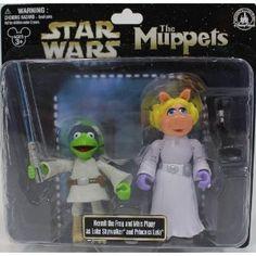 "Disney Star Wars Muppets ""Kermit the Frog & Miss Piggy"" as ""Luke Skywalker & Princess Leia"" PVC Figures - Disney Parks Exclusive & Limited Availability"