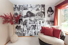 Amazing! Easy way to create a photo montage for your wall! It's easy to turn your photos into a large collage on removable wallpaper.