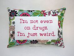 Funny Cross Stitch Pillow Pink And Green Pillow by NeedleNosey