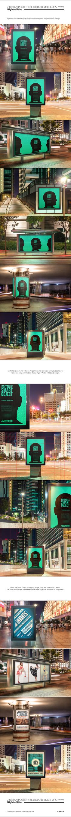 Save time and put the spark on your flyer / poster / billboard design with this night urban mock-ups set. Professional photos and photorealistic editing.