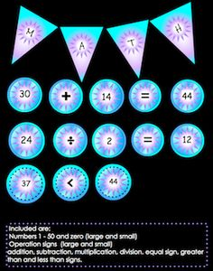 "Colorful Number circles 0 - 50, small and large circles! This is a PDF file, not JPG or PNG. Great for bulletin board or center displays. Pennants are 8 1/2"" x 11"" and spell the word MATH.. MANY math games to do using the circles are given. priced item."
