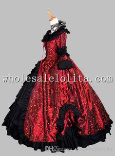 Wholesale Victorian Era Dress - Buy Deluxe Gothic Black And Wine Red Leaves Print Victorian Era Ball Gown Stage Costume Party Dress, $185.35 | DHgate