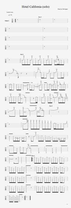 Guitar lesson with free tab and video tutorial. Hotel California solo by The Eagles Guitar Tabs And Chords, Guitar Tabs Songs, Music Tabs, Guitar Chord Chart, Lyrics And Chords, Free Guitar Lessons, Guitar Lessons For Beginners, Music Lessons, Guitar Solo