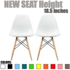 "2xhome - Set of Two (2) - New Seat Height 18.5"" - $115 Eames Style Side Chair Natural Wood Legs Eiffel Dining Chair - Multiple Colors"