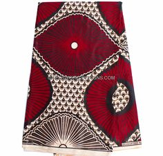 Red African Clothing fabric by the yard/ quality African Skirt fabric/ Ankara Wax Block Fabric/ African Wax Print/ WP829B by TessWorldDesigns on Etsy