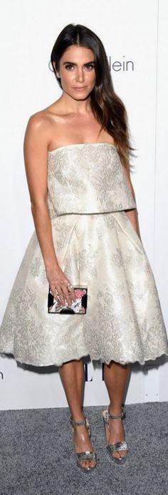Nikki Reed: Dress – Monique Lhuillier  Shoes – Bionda Castana  Earrings – Liv Haleu  Rings – David Yurman  Purse – Lee Savage