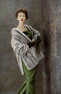 Dovima in EMBA mink and green satin gown, Christian Dior, photo Virginia Thoren 1954
