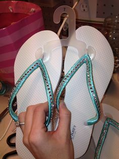 163d94879 Flip flops for the bridesmaids! Old navy flip flops and added tiffany blue  ribbon and bling!