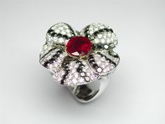 Margherita Burgener Painsy ring centering an oval ruby. Pavè set in diamonds and black diamonds